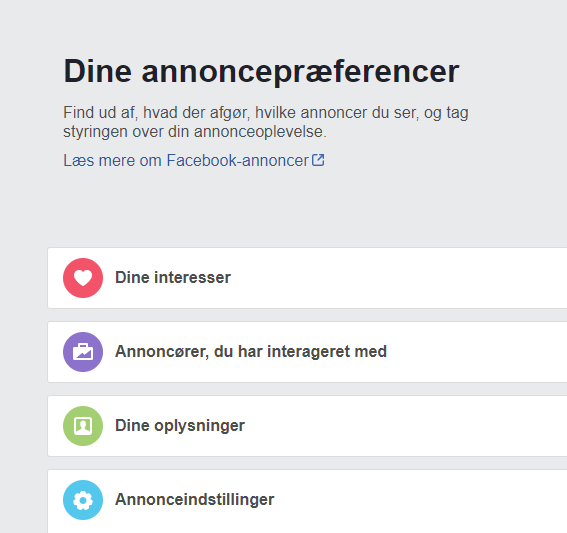 Facebookannonce - annoncepræferencer