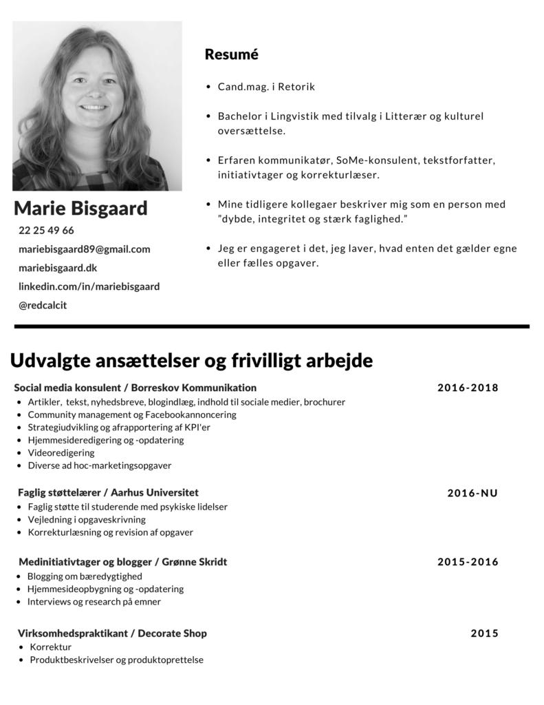 Eksempler på CV - tre sider