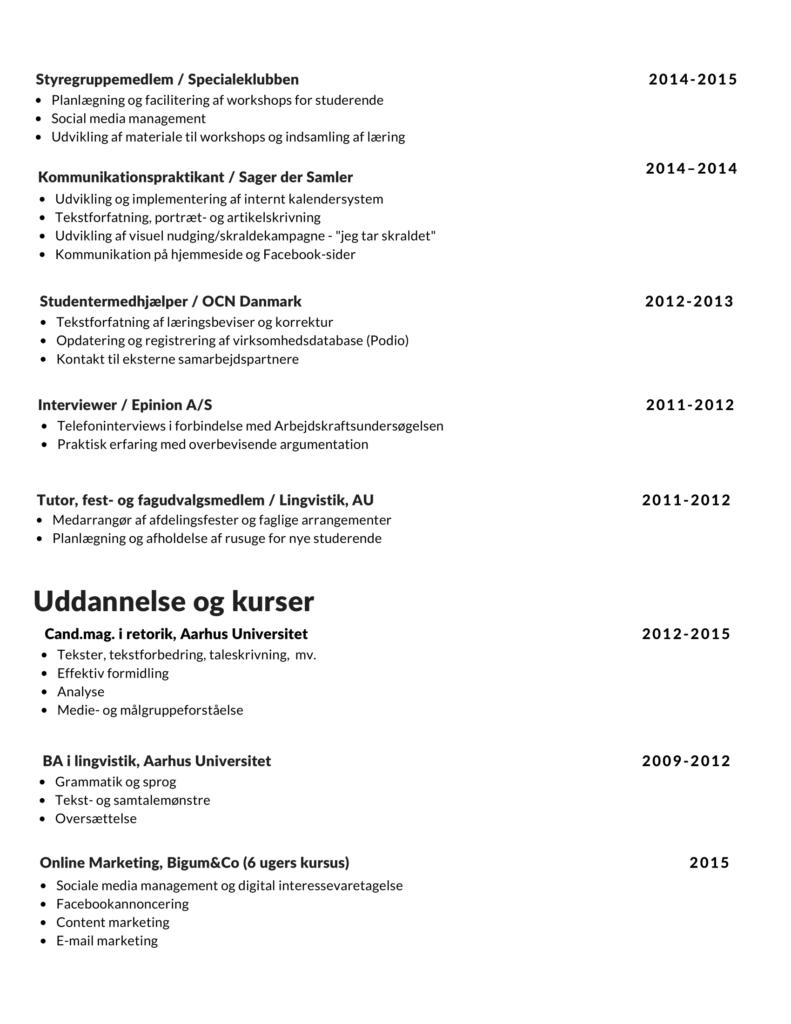 Eksempel på CV-skabelon