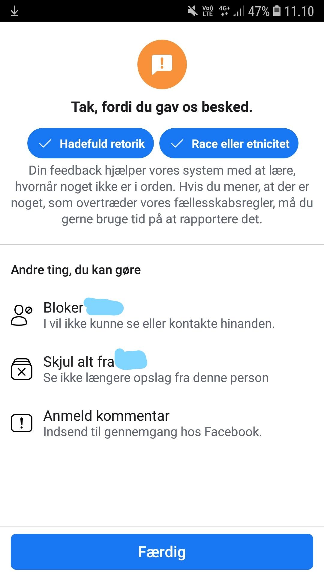 Bloker person på facebook og undgå hadske kommentarer